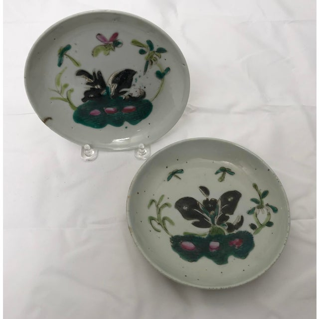 Mid 19th Century Antique Famille Rose Dishes- A Pair For Sale - Image 5 of 8