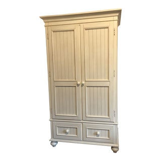 Ethan Allen Shabby Chic Beech Wood Armoire / Tv Cabinet For Sale