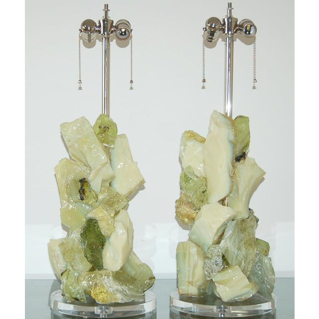 Modern Glass Rock Table Lamps by Swank Lighting Green Gimlet For Sale - Image 3 of 10