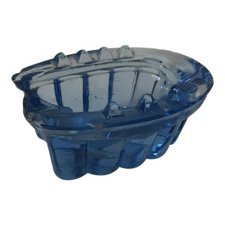 Vintage Blue Glass Horseshoe Ashtray