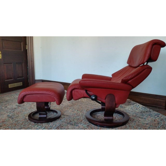 Ekornes Stressless Dream Red Leather Chair With Ottoman For Sale - Image 11 of 11