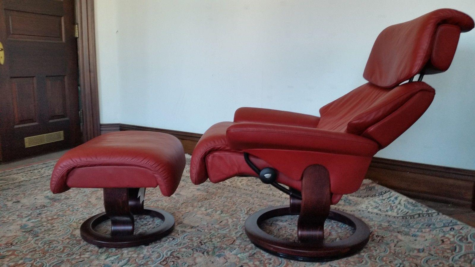 Ekornes Stressless Dream Red Leather Chair With Ottoman For Sale   Image 11  Of 11