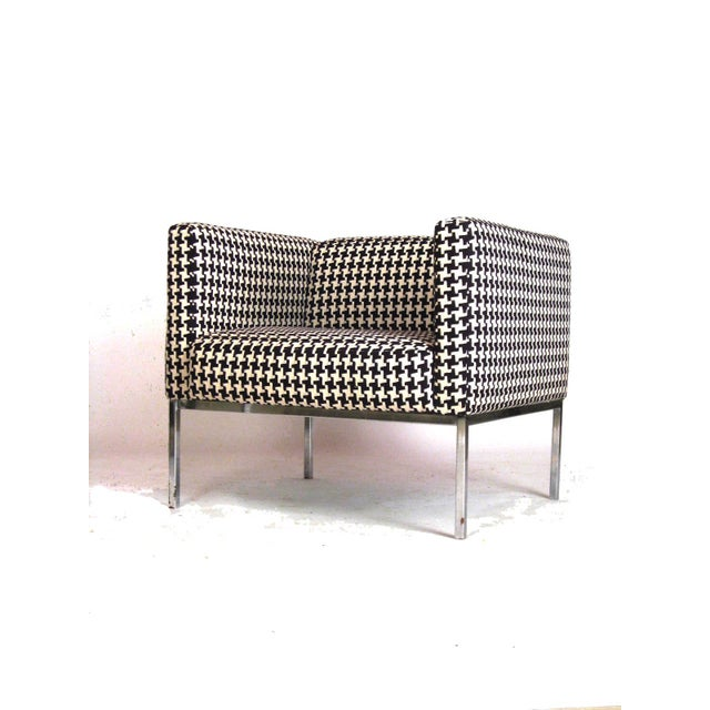 Houndstooth Chrome Club Chairs - A Pair - Image 5 of 6