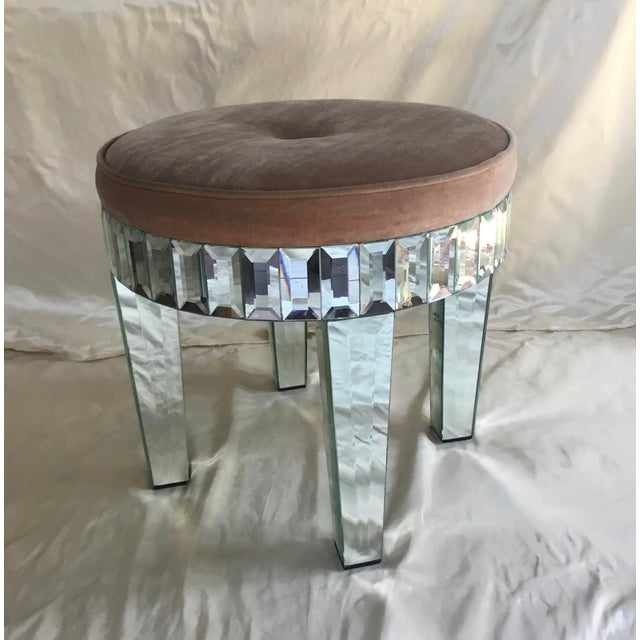 Glass 1980s Larry Hagman's Mirrored Vanity Stool For Sale - Image 7 of 7