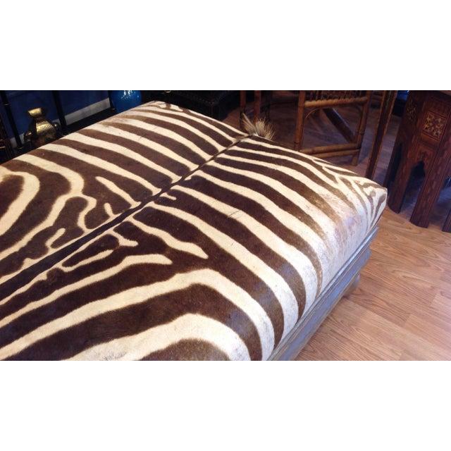Wood Enormous Zebra Hide Ottoman For Sale - Image 7 of 13