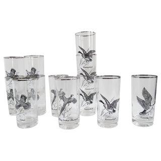 Vintage Game Fowl Glassware - Set of 10 For Sale