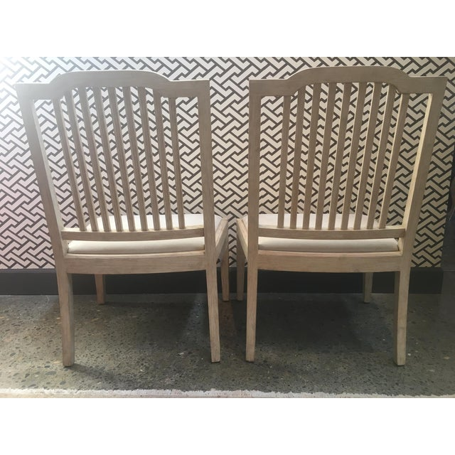 David Iatesta Georgetown Ivory Suede & Maple Wood Side Chairs - A Pair For Sale - Image 5 of 6