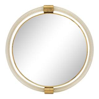 "Circular Murano Glass ""Torsado"" Mirror by Fuga For Sale"