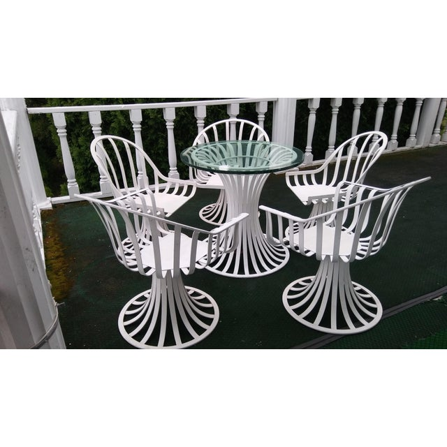 Russell Woodard Mid-Century Aluminum Table & 5 Chairs - Image 3 of 11