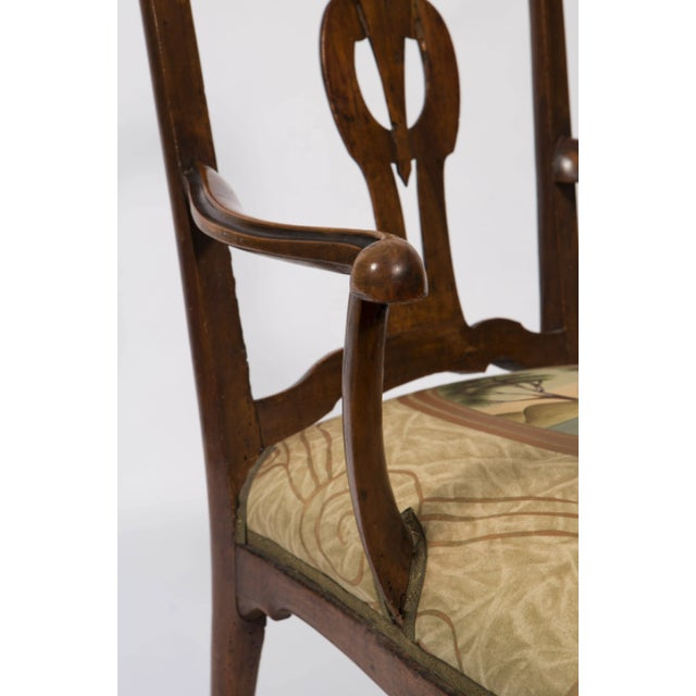 18th Century 18th Century Vintage Walnut Italian Open Back Armchair For Sale - Image 5 of 13