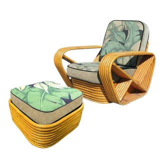 Restored Paul Frankl Style Six-Strand Square Pretzel Rattan Lounge Chair Ottoman For Sale