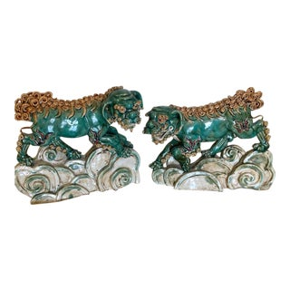 Antique Mid 19th Century Pottery Foo Dogs - a Pair For Sale