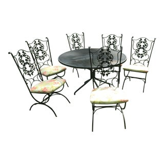 Russel Woodard Wrought Iron Outdoor Dining Set For Sale