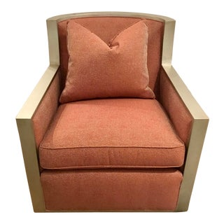 Hickory White Modern Coral and Silver Maxwell Swivel Club Chair For Sale
