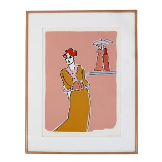Mid Century Modern Framed Litho, Two With Umbrellas by Peter Max For Sale