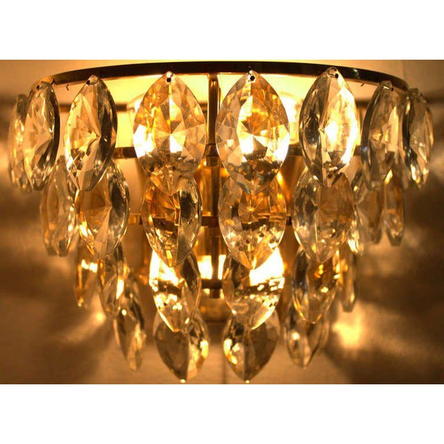 1960s Pair of Palwa Wall Sconces, Gilded Brass and Crystal Glass, Germany 1960s For Sale - Image 5 of 6