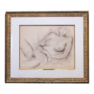 Constantine Pougialis Charcoal Drawing of Nude Woman For Sale