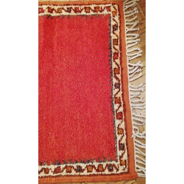 Coral and Turquoise Hallway Runner Pile Rug - Handmade Moroccan Taznacht - 2′3″ × 9′7″ - Image 4 of 7