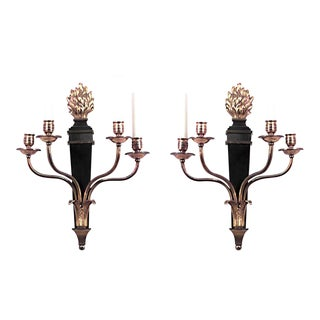 French Empire Style Ebonized and Gilt Four-Arm Wall Sconces - a Pair For Sale