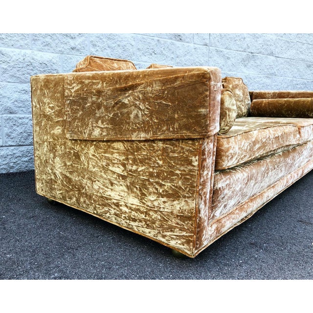 Mid 20th Century Mid Century Gold Crushed Velvet Rolling Sofa For Sale - Image 5 of 11
