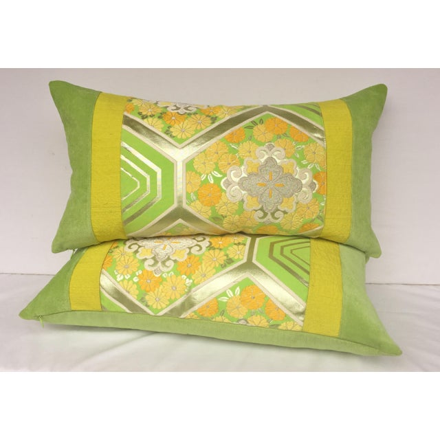 Green Japanese Obi Pillows - A Pair - Image 2 of 4
