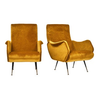 Marco Zanuso Style Mid-Century Modern Armchairs