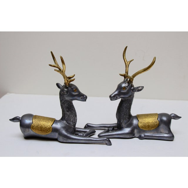 Pewter & Brass Seated Deer - A Pair - Image 3 of 5