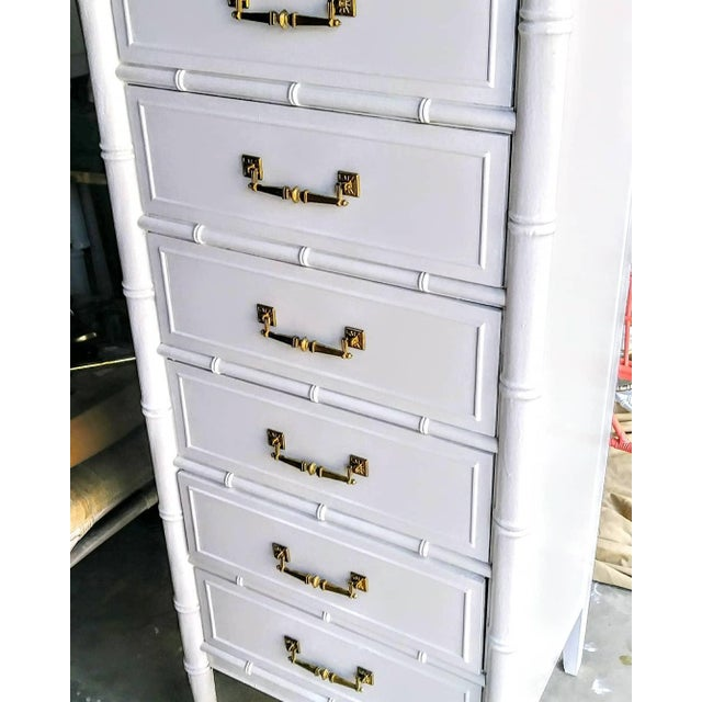Hollywood Regency Vintage Henry Link Bali Hai Palm Beach Regency White High Gloss Tall Lingere Dresser Chest For Sale - Image 3 of 9