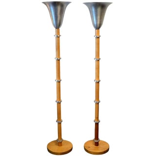 Art Deco Brushed Aluminum Torchere Lamps in the Style of Russel Wright For Sale