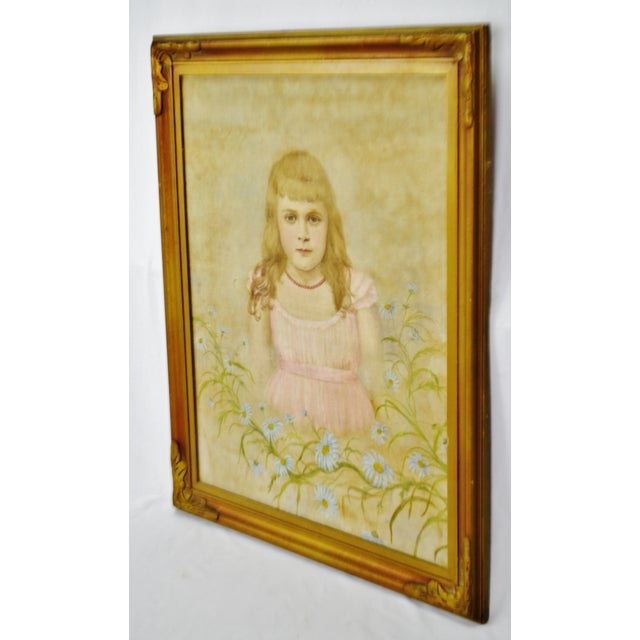 Antique Framed Victorian Style Painting on Canvas of Young Girl - Artist Signed Condition consistent with age and history....