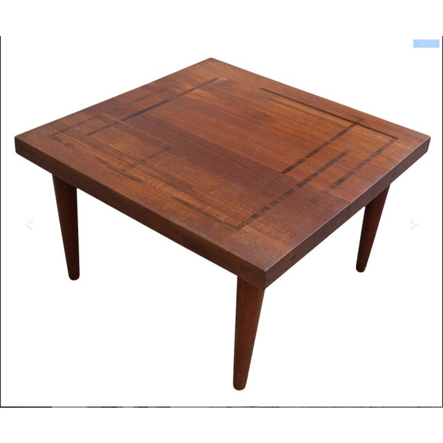 Circa 1960, Denmark, J. Schmidt Inlaid Rosewood and Teak Side Table For Sale - Image 9 of 9