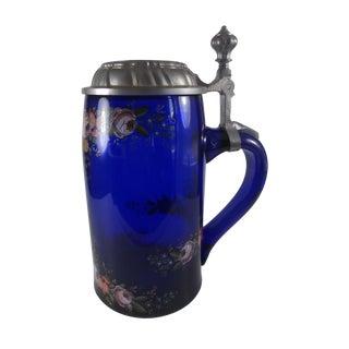 German Cobalt Glass Beer Stein For Sale