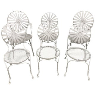 Francois Carré Sunburst Back Garden Chairs - Set of 6 For Sale