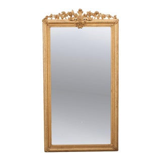 French 19th Century Louis XVI-Style Gold Gilt Mirror For Sale
