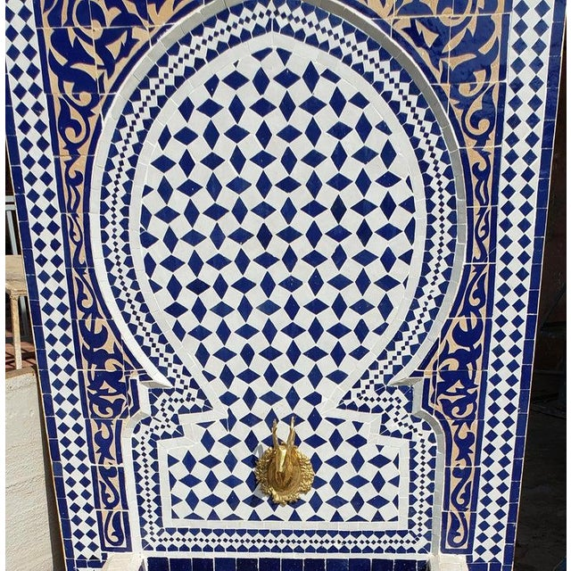 Islamic Moroccan Mosaic Blue Fountain For Sale - Image 3 of 8