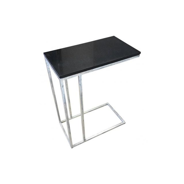 Metal Tray Side End Table With Black Marble Top - Image 3 of 4