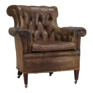 Antique French Leather Chair, Circa 1800s For Sale