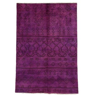 "Violet Over-Dyed Moroccan Hand-Knotted Rug - 6' 1"" X 8' 10"""
