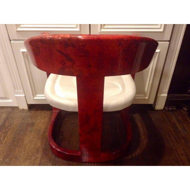 1970s Stunning Karl Springer Oaniss Chair, in Red Goatskin For Sale - Image 5 of 6