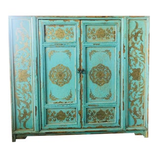 Boho Style Distressed Turquoise Painted Cabinet