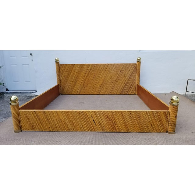 1970s Vintage Marcello Mioni Pencil Reed Rattan & Brass King Bed Frame For Sale - Image 11 of 12