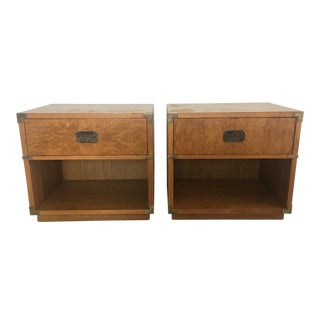 1970s Campaign Lane Nightstands - a Pair For Sale