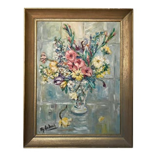 Vintage Floral Still Life Painting With Impasto For Sale