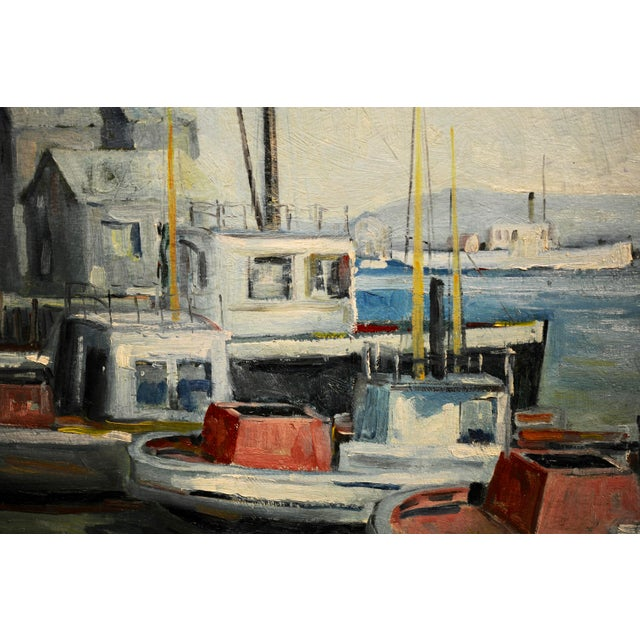 Paint John Earle Coolidge - Boats at the La Harbor 1935 - Oil Painting For Sale - Image 7 of 9