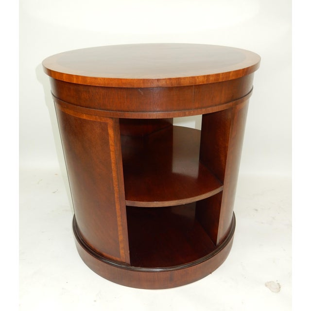 Hollywood Regency Baker Furniture Inlaid Banded Mahogany Drum Shaped Book Case For Sale - Image 3 of 13