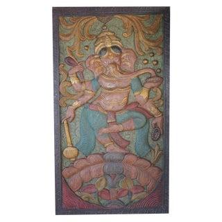 Vintage Colorful Indian Hand Carved Ganesha Dancing on Lotus Door Panel