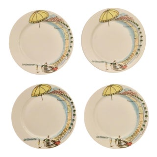 Vintage Mid-Century Pillivuyt French Dessert Plates - Set of 4 For Sale