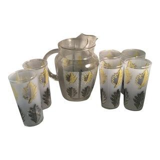Vintage Gold Leaf Water Pitcher and Glasses - Set of 7 For Sale