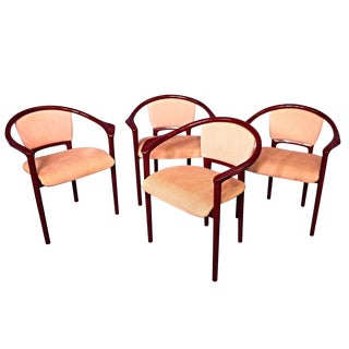 Italian Red Lacquer Dining Chairs - Set of 4 For Sale