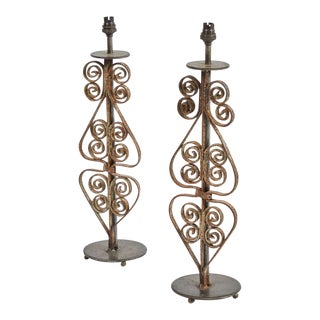 19th C. Iron Table Lamps - a Pair For Sale